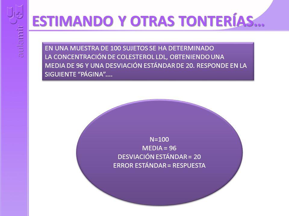 ESTIMANDO Y OTRAS TONTERÍAS… EN UNA MUESTRA DE 100 SUJETOS SE HA DETERMINADO LA CONCENTRACIÓN DE COLESTEROL LDL, OBTENIENDO UNA MEDIA DE 96 Y UNA DESVIACIÓN ESTÁNDAR DE 20.