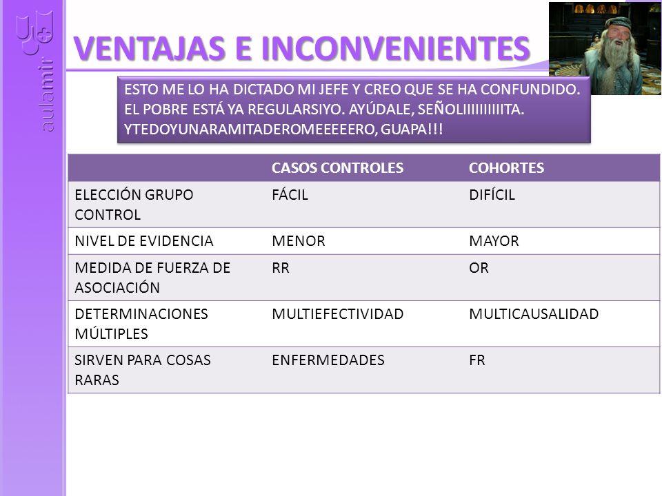 VENTAJAS E INCONVENIENTES CASOS CONTROLESCOHORTES ELECCIÓN GRUPO CONTROL FÁCILDIFÍCIL NIVEL DE EVIDENCIAMENORMAYOR MEDIDA DE FUERZA DE ASOCIACIÓN RROR DETERMINACIONES MÚLTIPLES MULTIEFECTIVIDADMULTICAUSALIDAD SIRVEN PARA COSAS RARAS ENFERMEDADESFR ESTO ME LO HA DICTADO MI JEFE Y CREO QUE SE HA CONFUNDIDO.