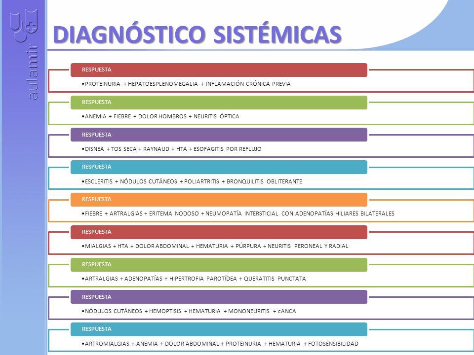DIAGNÓSTICO SISTÉMICAS PROTEINURIA + HEPATOESPLENOMEGALIA + INFLAMACIÓN CRÓNICA PREVIA RESPUESTA ANEMIA + FIEBRE + DOLOR HOMBROS + NEURITIS ÓPTICA RESPUESTA DISNEA + TOS SECA + RAYNAUD + HTA + ESOFAGITIS POR REFLUJO RESPUESTA ESCLERITIS + NÓDULOS CUTÁNEOS + POLIARTRITIS + BRONQUILITIS OBLITERANTE RESPUESTA FIEBRE + ARTRALGIAS + ERITEMA NODOSO + NEUMOPATÍA INTERSTICIAL CON ADENOPATÍAS HILIARES BILATERALES RESPUESTA MIALGIAS + HTA + DOLOR ABDOMINAL + HEMATURIA + PÚRPURA + NEURITIS PERONEAL Y RADIAL RESPUESTA ARTRALGIAS + ADENOPATÍAS + HIPERTROFIA PAROTÍDEA + QUERATITIS PUNCTATA RESPUESTA NÓDULOS CUTÁNEOS + HEMOPTISIS + HEMATURIA + MONONEURITIS + cANCA RESPUESTA ARTROMIALGIAS + ANEMIA + DOLOR ABDOMINAL + PROTEINURIA + HEMATURIA + FOTOSENSIBILIDAD RESPUESTA