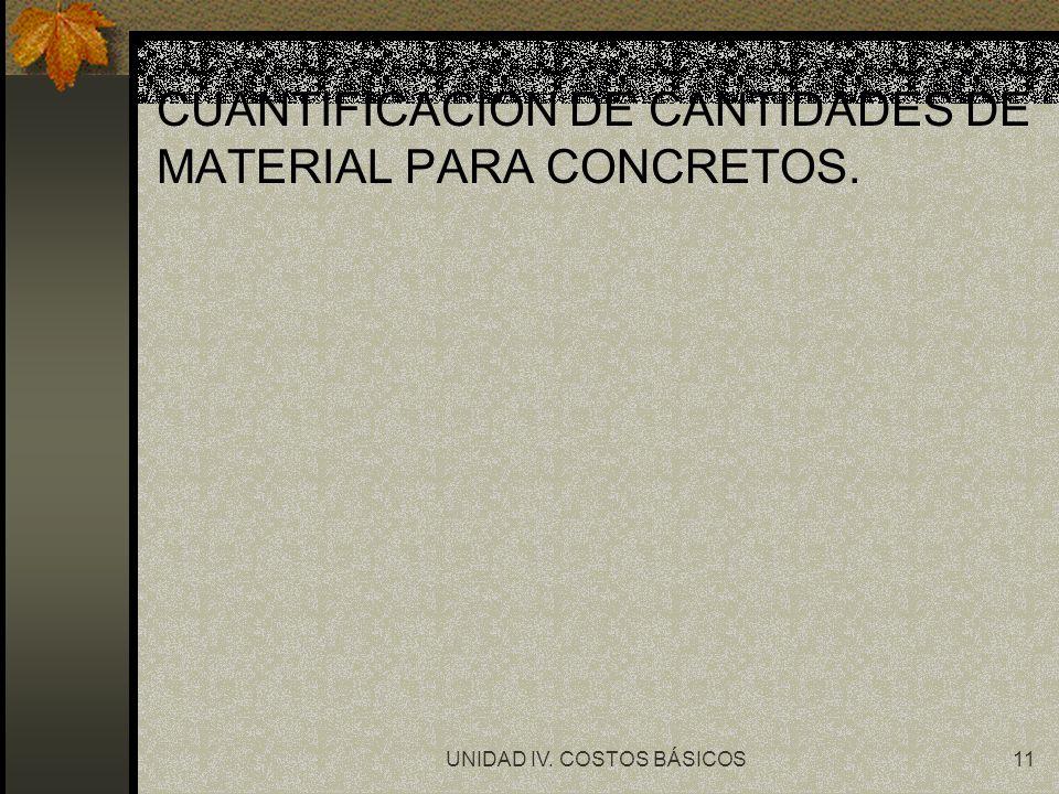 UNIDAD IV. COSTOS BÁSICOS11 CUANTIFICACION DE CANTIDADES DE MATERIAL PARA CONCRETOS.
