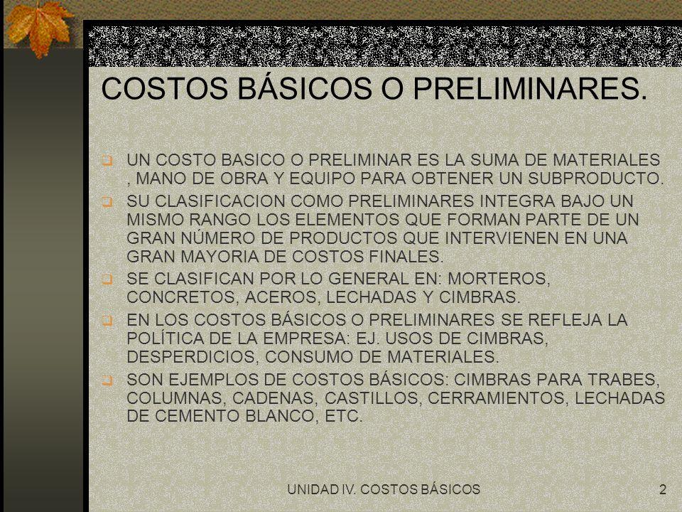 UNIDAD IV.COSTOS BÁSICOS3 COSTOS BÁSICOS O PRELIMINARES.
