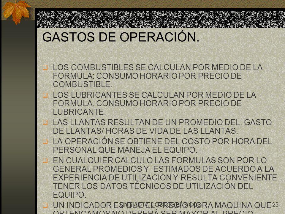 UNIDAD IV. COSTOS BÁSICOS23 GASTOS DE OPERACIÓN. q LOS COMBUSTIBLES SE CALCULAN POR MEDIO DE LA FORMULA: CONSUMO HORARIO POR PRECIO DE COMBUSTIBLE. q