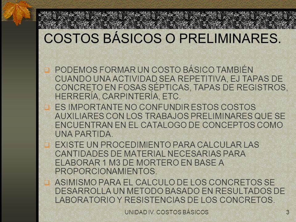 UNIDAD IV.COSTOS BÁSICOS14 CALCULO DEL COSTO HORARIO DE MAQUINARIA.