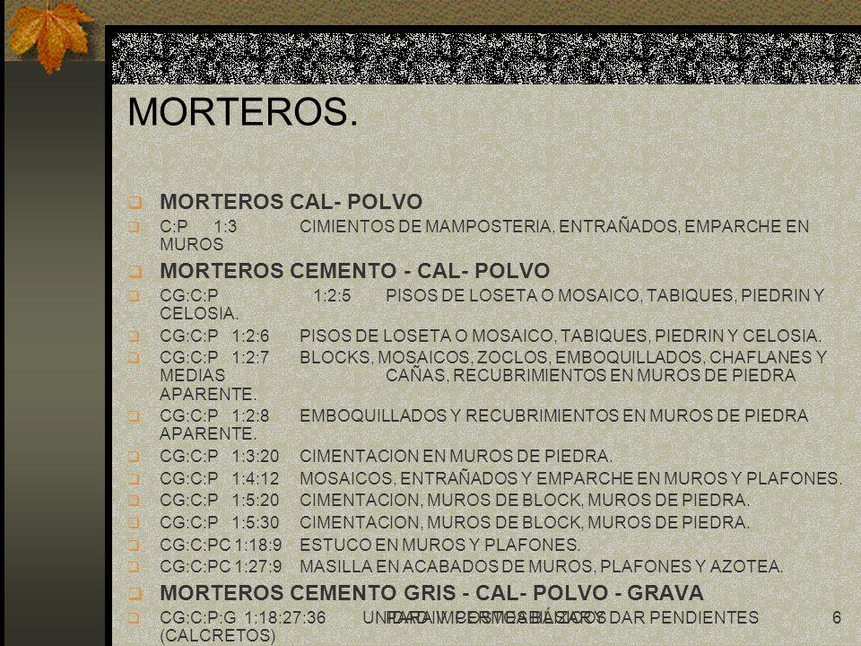UNIDAD IV.COSTOS BÁSICOS7 CUANTIFICACION DE CANTIDADES DE MATERIAL PARA MORTEROS.