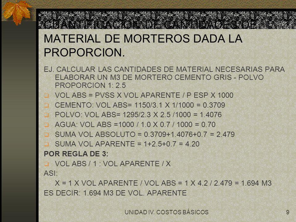 UNIDAD IV. COSTOS BÁSICOS9 CUANTIFICACION DE CANTIDADES DE MATERIAL DE MORTEROS DADA LA PROPORCION. EJ. CALCULAR LAS CANTIDADES DE MATERIAL NECESARIAS