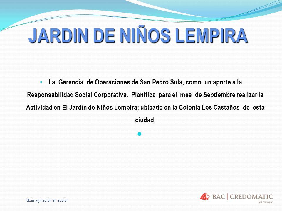 JARDIN DE NIÑOS LEMPIRA La Gerencia de Operaciones de San Pedro Sula, como un aporte a la Responsabilidad Social Corporativa. Planifica para el mes de