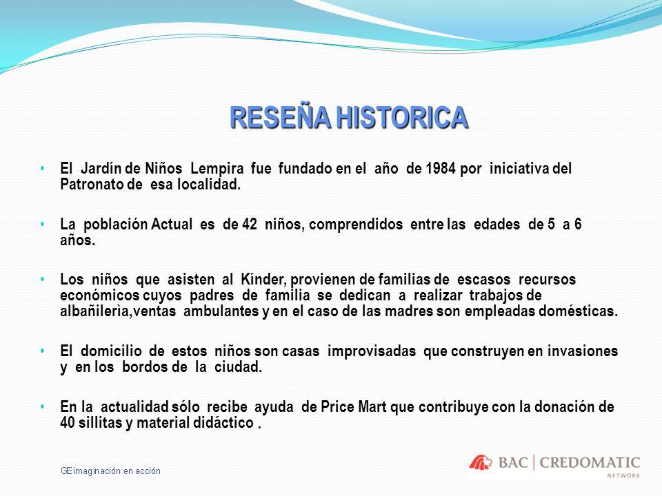 RESEÑA HISTORICA El Jardín de Niños Lempira fue fundado en el año de 1984 por iniciativa del Patronato de esa localidad. La población Actual es de 42