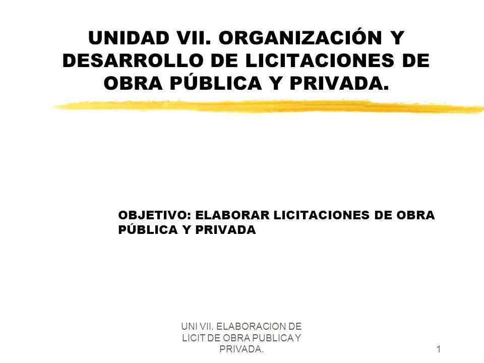 UNI VII. ELABORACION DE LICIT DE OBRA PUBLICA Y PRIVADA.1 UNIDAD VII. ORGANIZACIÓN Y DESARROLLO DE LICITACIONES DE OBRA PÚBLICA Y PRIVADA. OBJETIVO: E