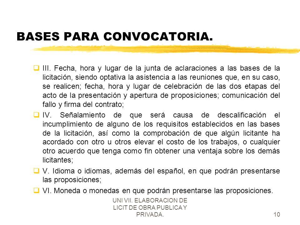 UNI VII. ELABORACION DE LICIT DE OBRA PUBLICA Y PRIVADA.10 BASES PARA CONVOCATORIA. qIII. Fecha, hora y lugar de la junta de aclaraciones a las bases