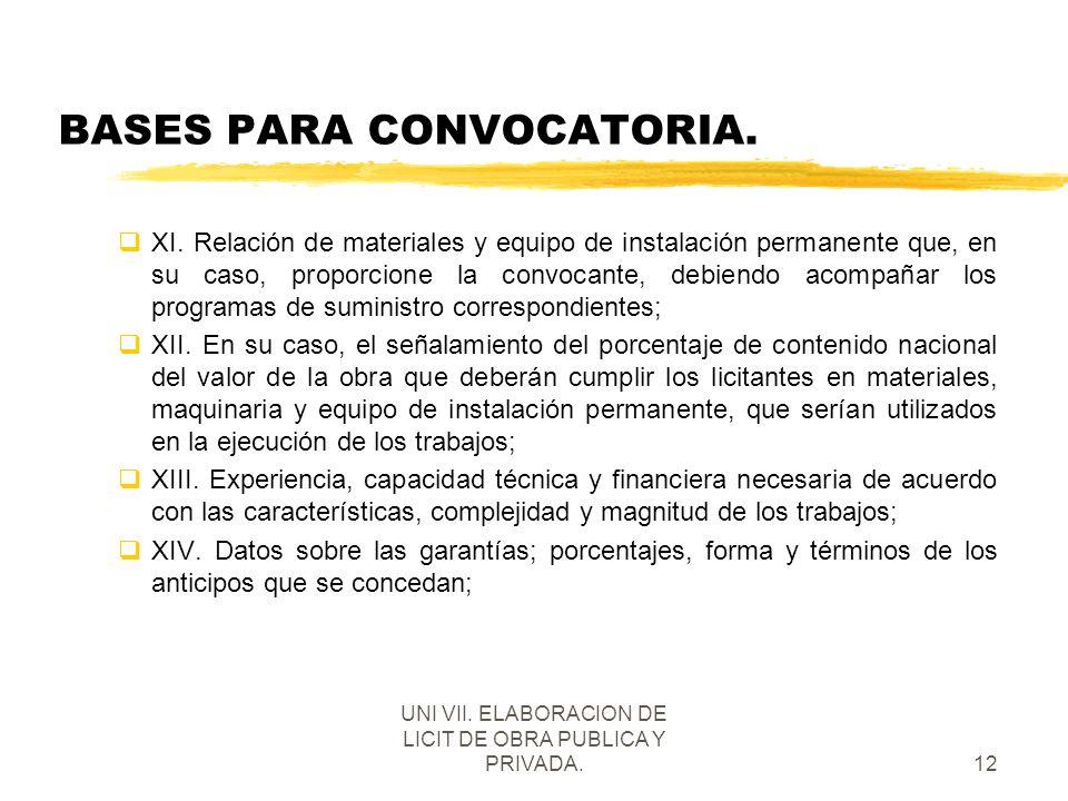 UNI VII. ELABORACION DE LICIT DE OBRA PUBLICA Y PRIVADA.12 BASES PARA CONVOCATORIA. qXI. Relación de materiales y equipo de instalación permanente que