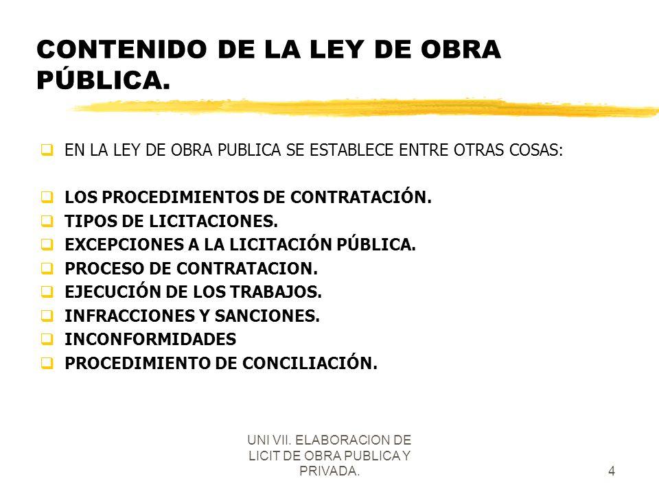UNI VII. ELABORACION DE LICIT DE OBRA PUBLICA Y PRIVADA.4 CONTENIDO DE LA LEY DE OBRA PÚBLICA. qEN LA LEY DE OBRA PUBLICA SE ESTABLECE ENTRE OTRAS COS