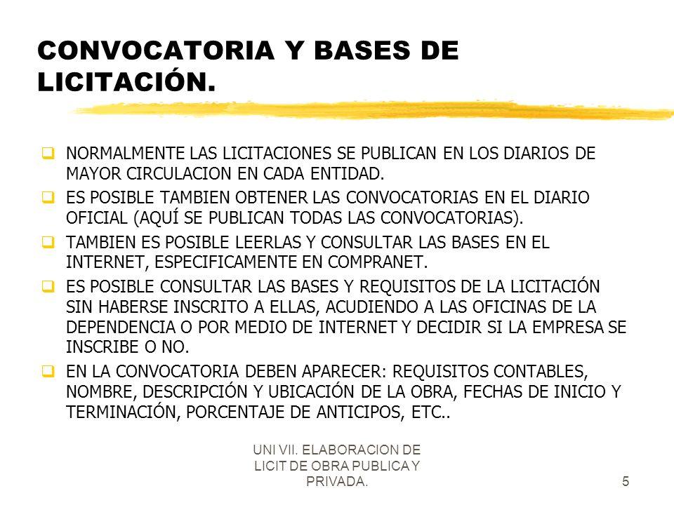 UNI VII. ELABORACION DE LICIT DE OBRA PUBLICA Y PRIVADA.5 CONVOCATORIA Y BASES DE LICITACIÓN. qNORMALMENTE LAS LICITACIONES SE PUBLICAN EN LOS DIARIOS