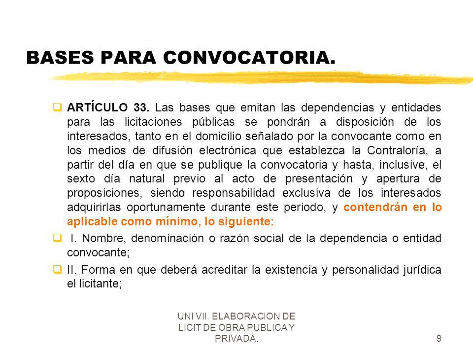 UNI VII. ELABORACION DE LICIT DE OBRA PUBLICA Y PRIVADA.9 BASES PARA CONVOCATORIA. qARTÍCULO 33. Las bases que emitan las dependencias y entidades par