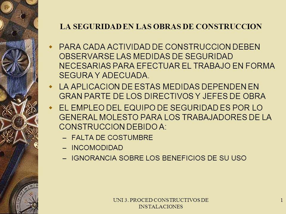 UNI 3. PROCED CONSTRUCTIVOS DE INSTALACIONES 1 LA SEGURIDAD EN LAS OBRAS DE CONSTRUCCION PARA CADA ACTIVIDAD DE CONSTRUCCION DEBEN OBSERVARSE LAS MEDI