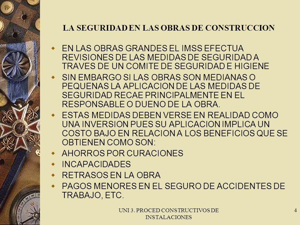 UNI 3. PROCED CONSTRUCTIVOS DE INSTALACIONES 4 LA SEGURIDAD EN LAS OBRAS DE CONSTRUCCION EN LAS OBRAS GRANDES EL IMSS EFECTUA REVISIONES DE LAS MEDIDA