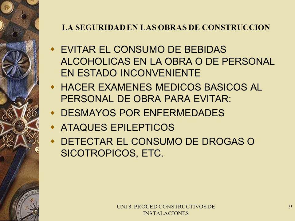 UNI 3. PROCED CONSTRUCTIVOS DE INSTALACIONES 9 LA SEGURIDAD EN LAS OBRAS DE CONSTRUCCION EVITAR EL CONSUMO DE BEBIDAS ALCOHOLICAS EN LA OBRA O DE PERS