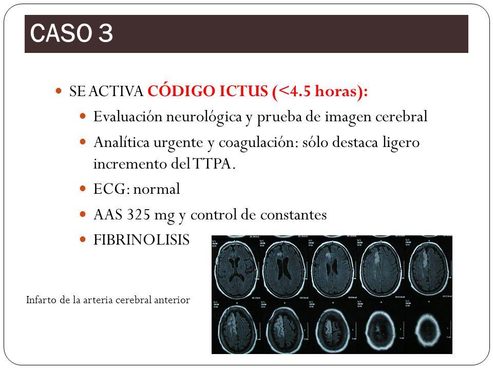 SE ACTIVA CÓDIGO ICTUS (<4.5 horas): Evaluación neurológica y prueba de imagen cerebral Analítica urgente y coagulación: sólo destaca ligero increment
