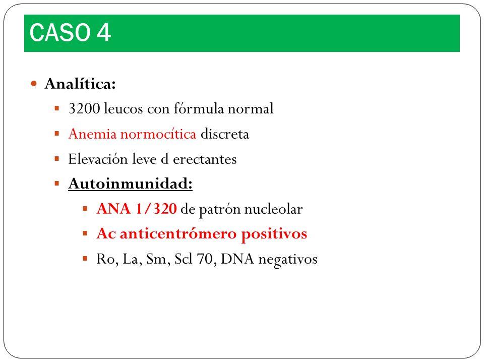 Analítica: 3200 leucos con fórmula normal Anemia normocítica discreta Elevación leve d erectantes Autoinmunidad: ANA 1/320 de patrón nucleolar Ac anti
