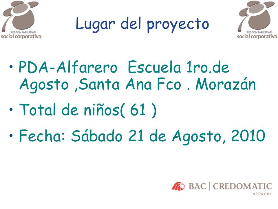 Lugar del proyecto PDA-Alfarero Escuela 1ro.de Agosto,Santa Ana Fco. Morazán Total de niños( 61 ) Fecha: Sábado 21 de Agosto, 2010