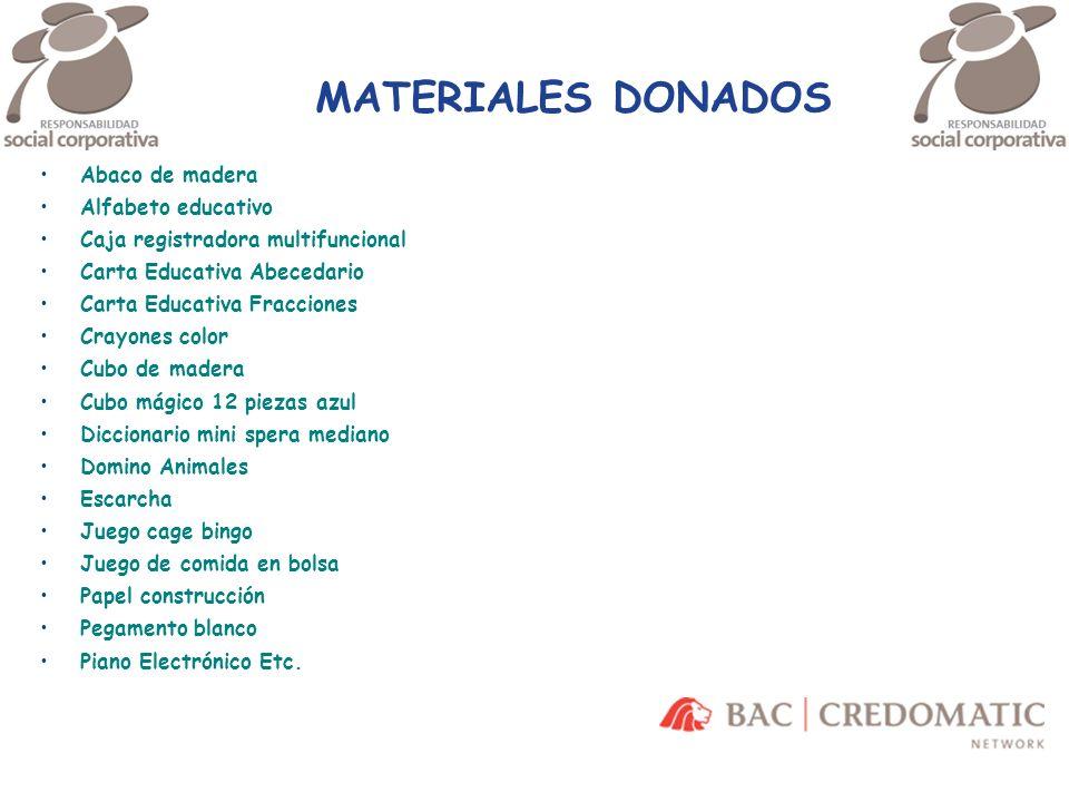 MATERIALES DONADOS Abaco de madera Alfabeto educativo Caja registradora multifuncional Carta Educativa Abecedario Carta Educativa Fracciones Crayones