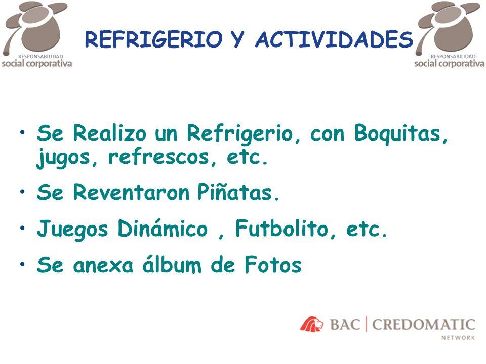REFRIGERIO Y ACTIVIDADES Se Realizo un Refrigerio, con Boquitas, jugos, refrescos, etc. Se Reventaron Piñatas. Juegos Dinámico, Futbolito, etc. Se ane
