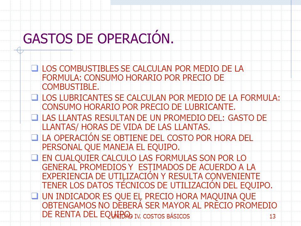 UNIDAD IV. COSTOS BÁSICOS13 GASTOS DE OPERACIÓN. q LOS COMBUSTIBLES SE CALCULAN POR MEDIO DE LA FORMULA: CONSUMO HORARIO POR PRECIO DE COMBUSTIBLE. q