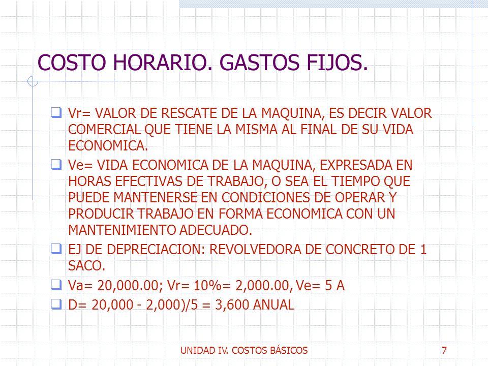 UNIDAD IV. COSTOS BÁSICOS7 COSTO HORARIO. GASTOS FIJOS. q Vr= VALOR DE RESCATE DE LA MAQUINA, ES DECIR VALOR COMERCIAL QUE TIENE LA MISMA AL FINAL DE