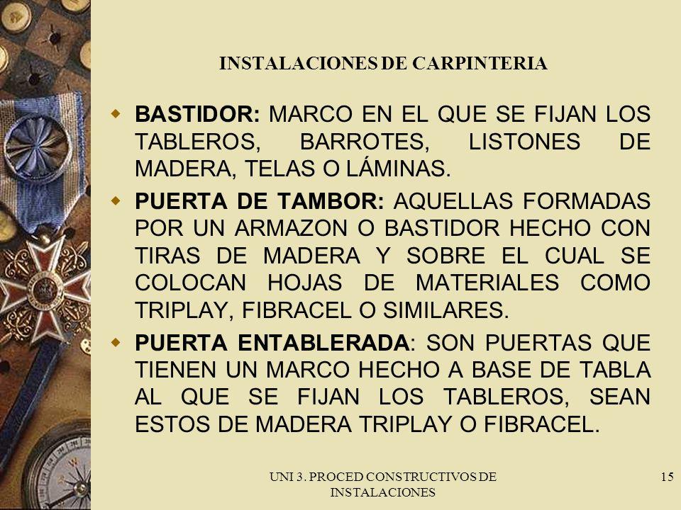 UNI 3. PROCED CONSTRUCTIVOS DE INSTALACIONES 15 INSTALACIONES DE CARPINTERIA BASTIDOR: MARCO EN EL QUE SE FIJAN LOS TABLEROS, BARROTES, LISTONES DE MA