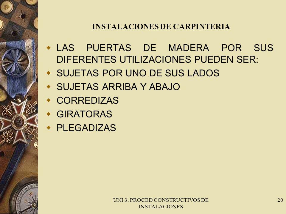 UNI 3. PROCED CONSTRUCTIVOS DE INSTALACIONES 20 INSTALACIONES DE CARPINTERIA LAS PUERTAS DE MADERA POR SUS DIFERENTES UTILIZACIONES PUEDEN SER: SUJETA