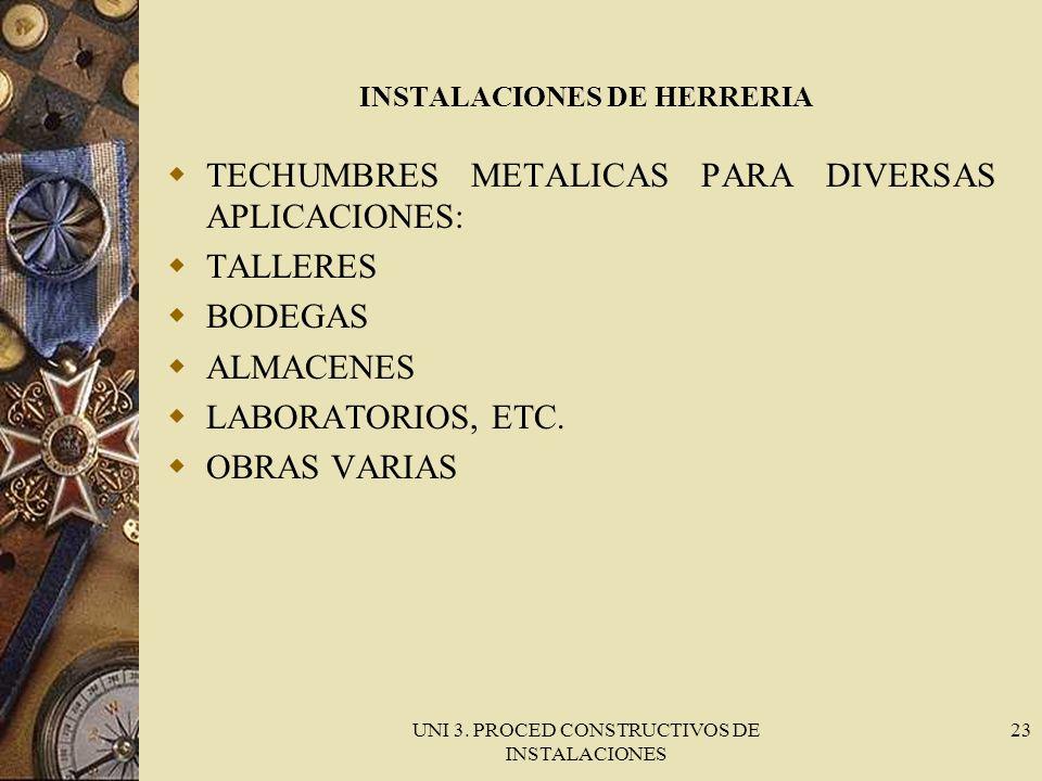 UNI 3. PROCED CONSTRUCTIVOS DE INSTALACIONES 23 INSTALACIONES DE HERRERIA TECHUMBRES METALICAS PARA DIVERSAS APLICACIONES: TALLERES BODEGAS ALMACENES
