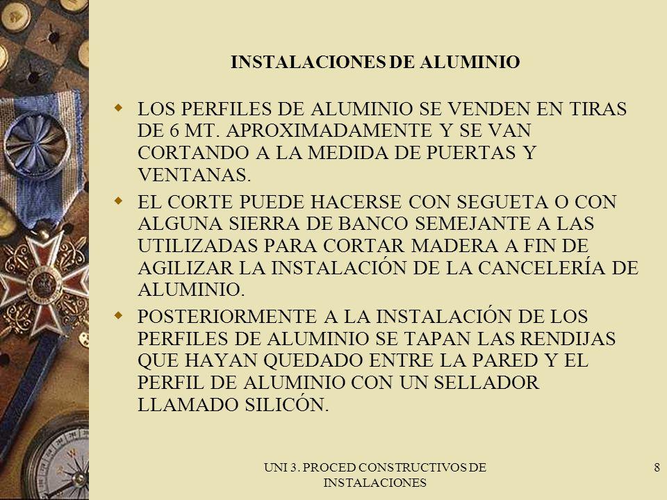 UNI 3. PROCED CONSTRUCTIVOS DE INSTALACIONES 8 INSTALACIONES DE ALUMINIO LOS PERFILES DE ALUMINIO SE VENDEN EN TIRAS DE 6 MT. APROXIMADAMENTE Y SE VAN