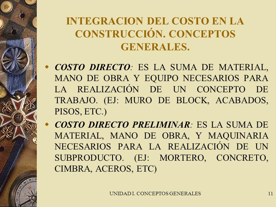 UNIDAD I. CONCEPTOS GENERALES11 INTEGRACION DEL COSTO EN LA CONSTRUCCIÓN. CONCEPTOS GENERALES. COSTO DIRECTO: ES LA SUMA DE MATERIAL, MANO DE OBRA Y E