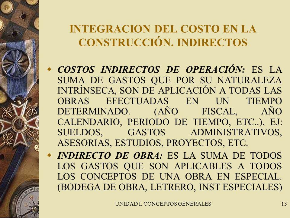 UNIDAD I. CONCEPTOS GENERALES13 INTEGRACION DEL COSTO EN LA CONSTRUCCIÓN. INDIRECTOS COSTOS INDIRECTOS DE OPERACIÓN: ES LA SUMA DE GASTOS QUE POR SU N