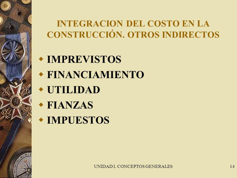 UNIDAD I. CONCEPTOS GENERALES14 INTEGRACION DEL COSTO EN LA CONSTRUCCIÓN. OTROS INDIRECTOS IMPREVISTOS FINANCIAMIENTO UTILIDAD FIANZAS IMPUESTOS