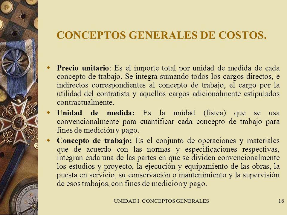 UNIDAD I. CONCEPTOS GENERALES16 CONCEPTOS GENERALES DE COSTOS. Precio unitario: Es el importe total por unidad de medida de cada concepto de trabajo.