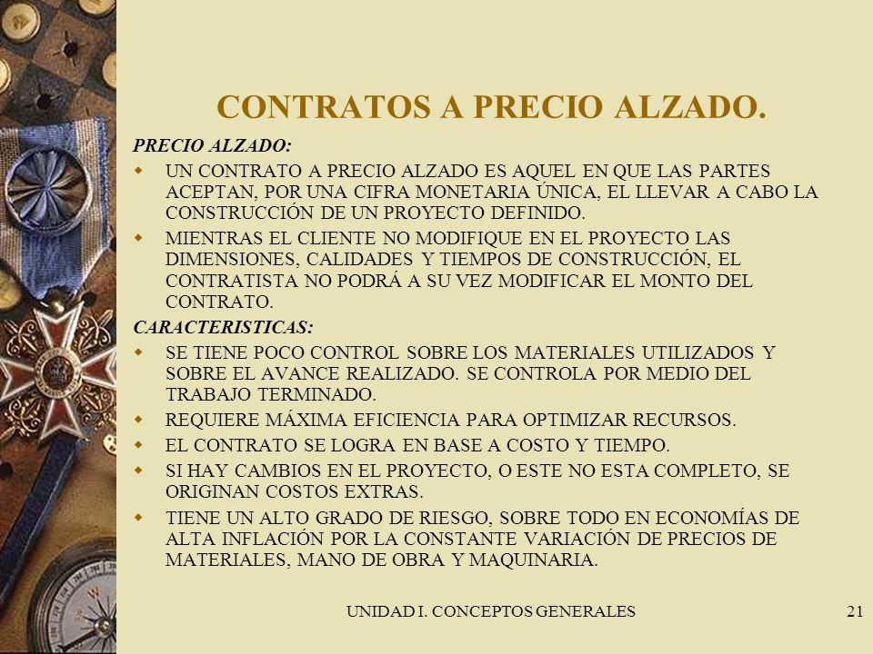 UNIDAD I. CONCEPTOS GENERALES21 CONTRATOS A PRECIO ALZADO. PRECIO ALZADO: UN CONTRATO A PRECIO ALZADO ES AQUEL EN QUE LAS PARTES ACEPTAN, POR UNA CIFR