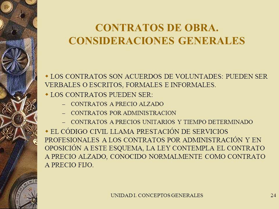 UNIDAD I. CONCEPTOS GENERALES24 CONTRATOS DE OBRA. CONSIDERACIONES GENERALES LOS CONTRATOS SON ACUERDOS DE VOLUNTADES: PUEDEN SER VERBALES O ESCRITOS,