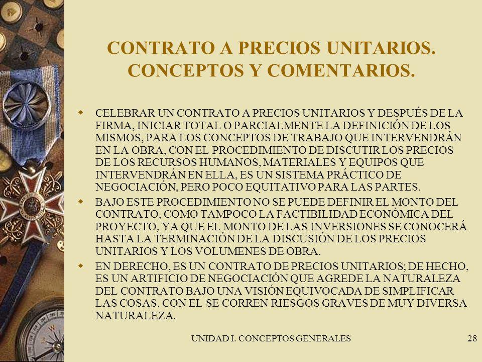 UNIDAD I. CONCEPTOS GENERALES28 CONTRATO A PRECIOS UNITARIOS. CONCEPTOS Y COMENTARIOS. CELEBRAR UN CONTRATO A PRECIOS UNITARIOS Y DESPUÉS DE LA FIRMA,