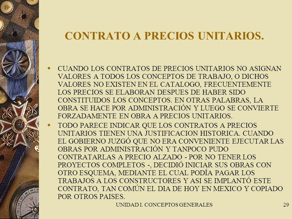 UNIDAD I. CONCEPTOS GENERALES29 CONTRATO A PRECIOS UNITARIOS. CUANDO LOS CONTRATOS DE PRECIOS UNITARIOS NO ASIGNAN VALORES A TODOS LOS CONCEPTOS DE TR