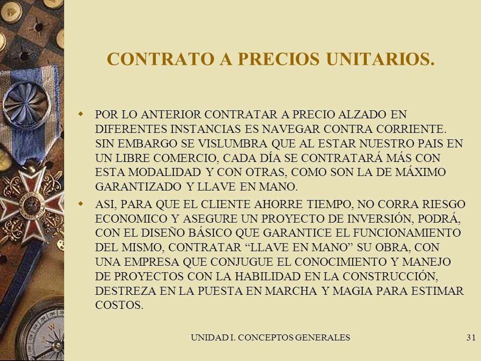 UNIDAD I. CONCEPTOS GENERALES31 CONTRATO A PRECIOS UNITARIOS. POR LO ANTERIOR CONTRATAR A PRECIO ALZADO EN DIFERENTES INSTANCIAS ES NAVEGAR CONTRA COR