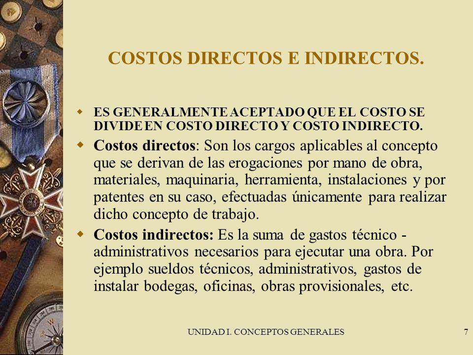 UNIDAD I. CONCEPTOS GENERALES7 COSTOS DIRECTOS E INDIRECTOS. ES GENERALMENTE ACEPTADO QUE EL COSTO SE DIVIDE EN COSTO DIRECTO Y COSTO INDIRECTO. Costo