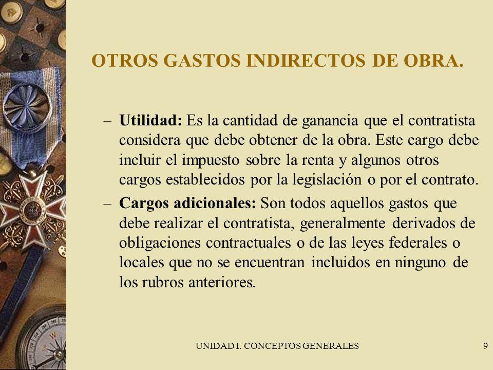 UNIDAD I. CONCEPTOS GENERALES9 OTROS GASTOS INDIRECTOS DE OBRA. – Utilidad: Es la cantidad de ganancia que el contratista considera que debe obtener d