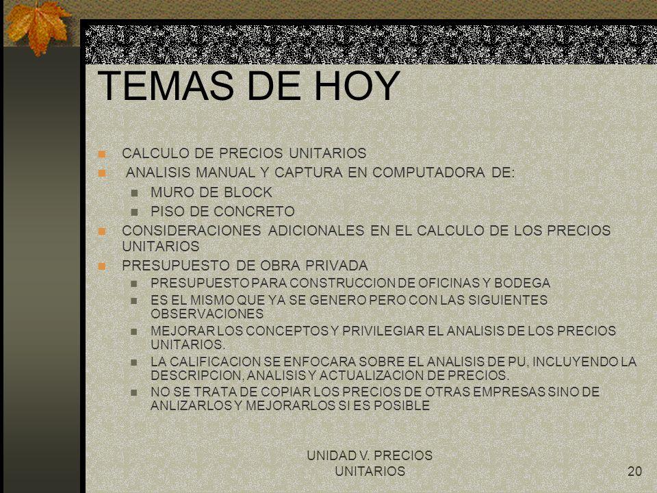 UNIDAD V. PRECIOS UNITARIOS20 TEMAS DE HOY CALCULO DE PRECIOS UNITARIOS ANALISIS MANUAL Y CAPTURA EN COMPUTADORA DE: MURO DE BLOCK PISO DE CONCRETO CO