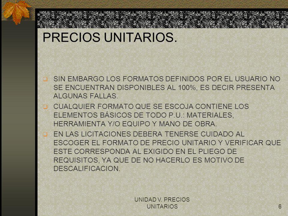 UNIDAD V. PRECIOS UNITARIOS6 PRECIOS UNITARIOS. q SIN EMBARGO LOS FORMATOS DEFINIDOS POR EL USUARIO NO SE ENCUENTRAN DISPONIBLES AL 100%, ES DECIR PRE