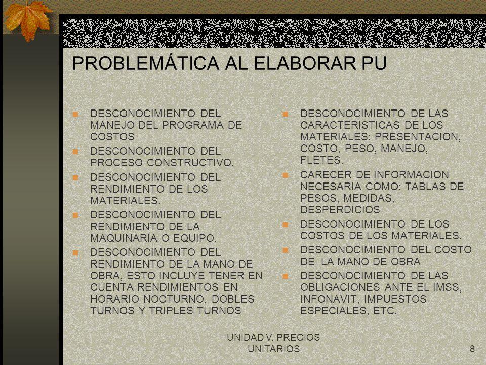 UNIDAD V. PRECIOS UNITARIOS8 PROBLEMÁTICA AL ELABORAR PU DESCONOCIMIENTO DEL MANEJO DEL PROGRAMA DE COSTOS DESCONOCIMIENTO DEL PROCESO CONSTRUCTIVO. D