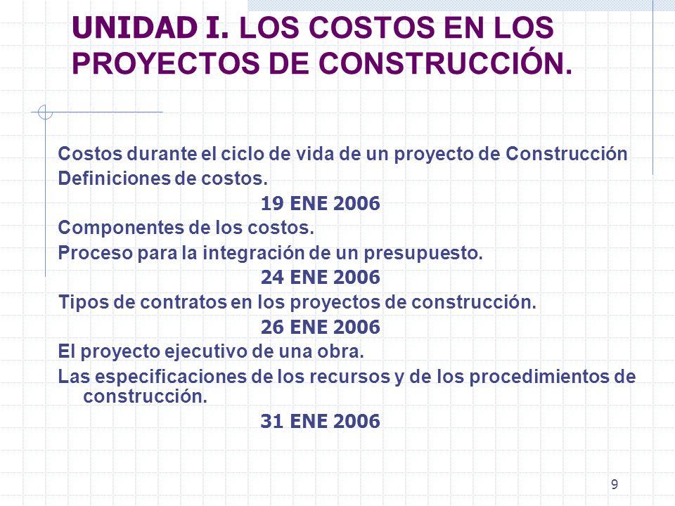8 TEMARIO DESGLOSADO 12 ENERO 2006 Presentación e Introducción del curso Costos de construcción 17 ENERO 2006 Continuación y Panorama general de la ma