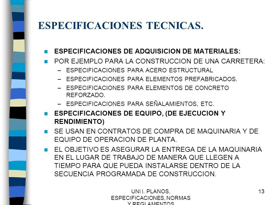 UNI I. PLANOS, ESPECIFICACIONES, NORMAS Y REGLAMENTOS 13 ESPECIFICACIONES TECNICAS. ESPECIFICACIONES DE ADQUISICION DE MATERIALES: POR EJEMPLO PARA LA