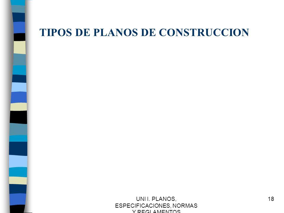 UNI I. PLANOS, ESPECIFICACIONES, NORMAS Y REGLAMENTOS 18 TIPOS DE PLANOS DE CONSTRUCCION