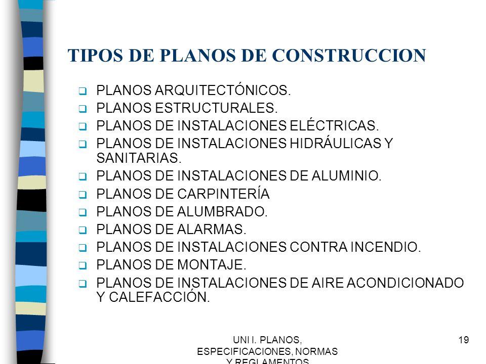 UNI I. PLANOS, ESPECIFICACIONES, NORMAS Y REGLAMENTOS 19 TIPOS DE PLANOS DE CONSTRUCCION q PLANOS ARQUITECTÓNICOS. q PLANOS ESTRUCTURALES. q PLANOS DE
