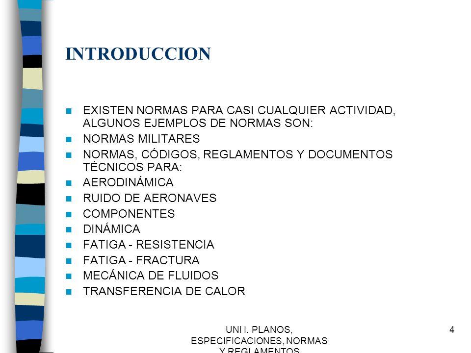 UNI I.PLANOS, ESPECIFICACIONES, NORMAS Y REGLAMENTOS 35 IMSS.